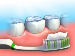 Toothbrush and toothpaste in front of some molar teeth. Digital illustration.